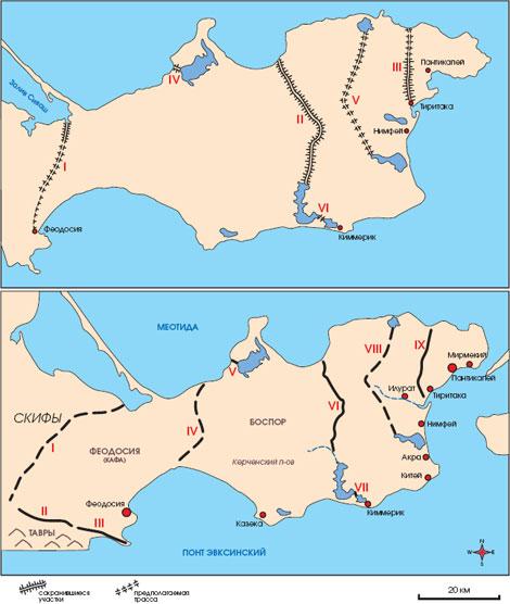 Древние валы (ров плюс крепостная стена с башнями-элеваторами) на Керченском полуострове. Узунларский проходит вблизи Горностаевки