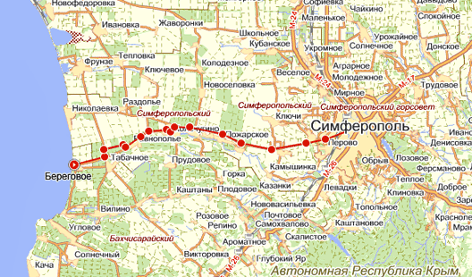 от Симферополя, карта