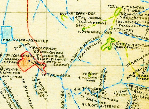 Фрагмент исследовательской карты Игоря Белянского с топонимами окрестностей села Мраморное (Биюк-Янкой) Симферопольского района