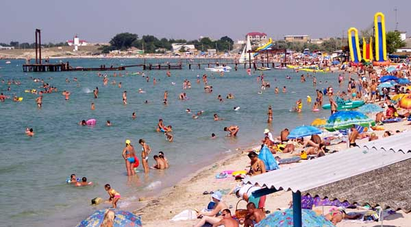 Children beach in Chernomorskaya Bay. Crimea, Black Sea