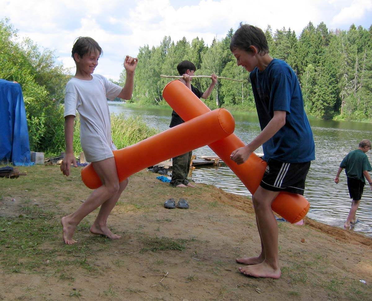 azov boy moscow boy scouts play in sommer camp Azov sea