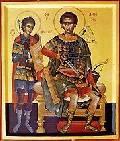 святой Димитрий Солунский и его ученик св. Нестор Солунский (15 кб)