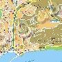 карта восточной части Ялты: Поликур, Массандровский парк, Массандровский пляж
